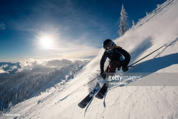 powder turns - ski stock pictures, royalty-free photos & images