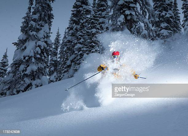 powder turns - powder snow stock pictures, royalty-free photos & images