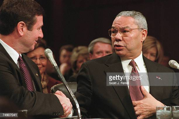 POWELLRetired Gen Colin L Powell thanks Sen George Allen RVa for Allen's introduction during the confirmation hearing before Senate Foreign Relations...