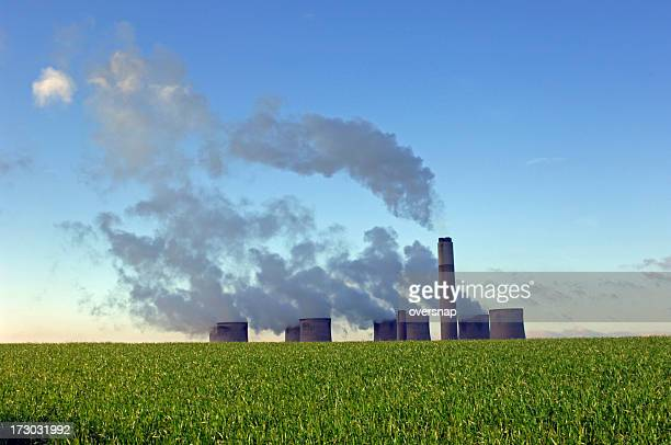 power and the environment - coal fired power station stock photos and pictures