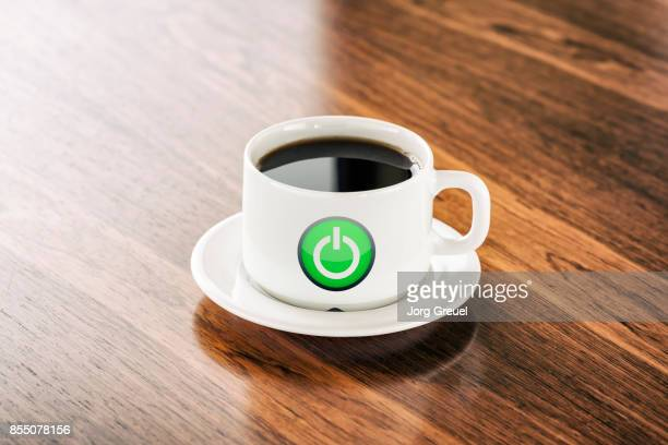 Power button icon on a coffee cup