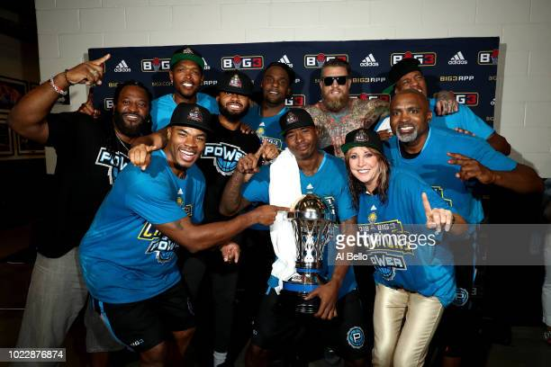 Power celebrate after defeating 3's Company during the BIG3 Championship at the Barclays Center on August 24 2018 in Brooklyn New York