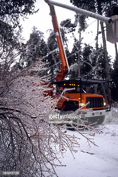 Power company winter storm repairs