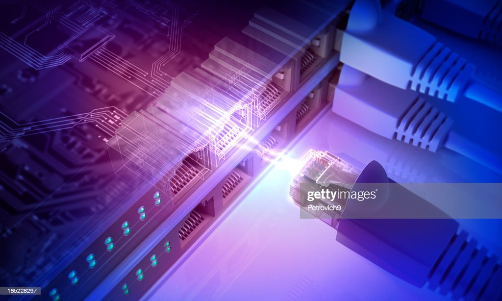 Power connection with connecting cords : Stock Photo