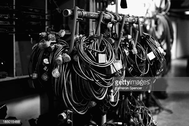 EDITORS NOTE Power cords and electrical equipment are seen in the Dame Joan Sutherland Theatre dock two floors below stage level at the Sydney Opera...