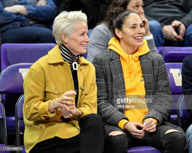 Power couple, USWNT forward Megan Rapinoe and Seattle Storm guard Sue Bird enjoy the game at the Alaska Airlines Arena on January 27, 2019 in...