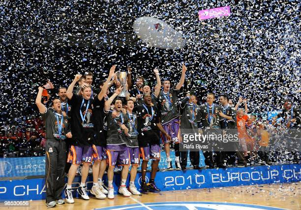 Power Electronics Valencia team pose with the Eurocup trophy during the Champion Award Ceremony at Fernando Buesa Arena on April 18 2010 in...