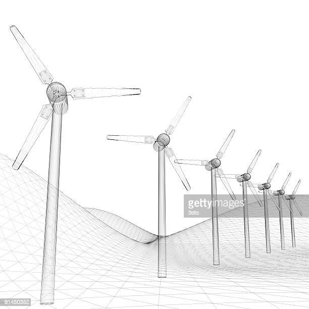 Power Generating Windmills (white background)