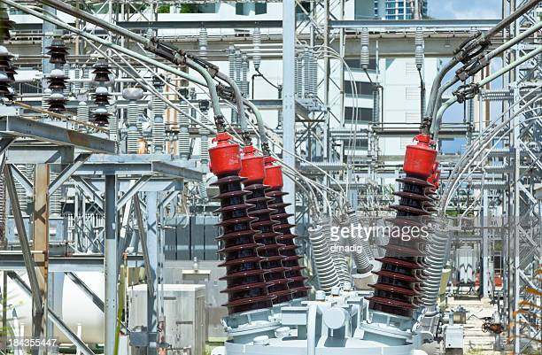 Power Grid Close-up at an Electric Utility Substation