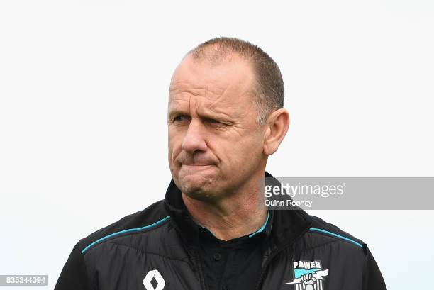 Power head coach Ken Hinkley looks on during the round 22 AFL match between the Western Bulldogs and the Port Adelaide Power at Mars Stadium on...