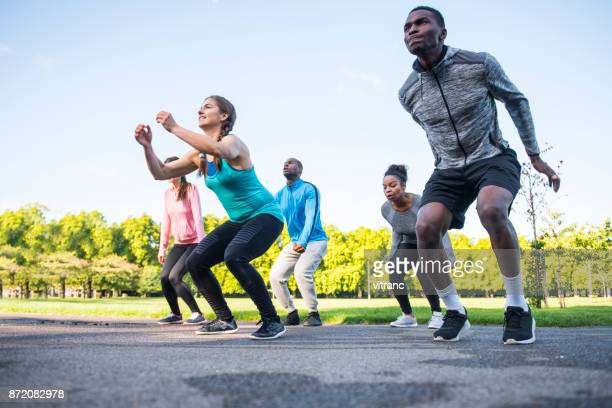 power jump exercise - aerobics stock pictures, royalty-free photos & images