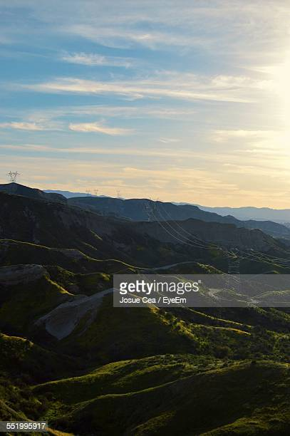 power line above dramatic landscape - santa clarita stock pictures, royalty-free photos & images