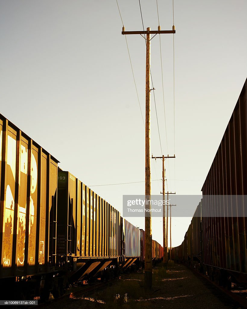 Power line and freight trains, sunlight : Stockfoto