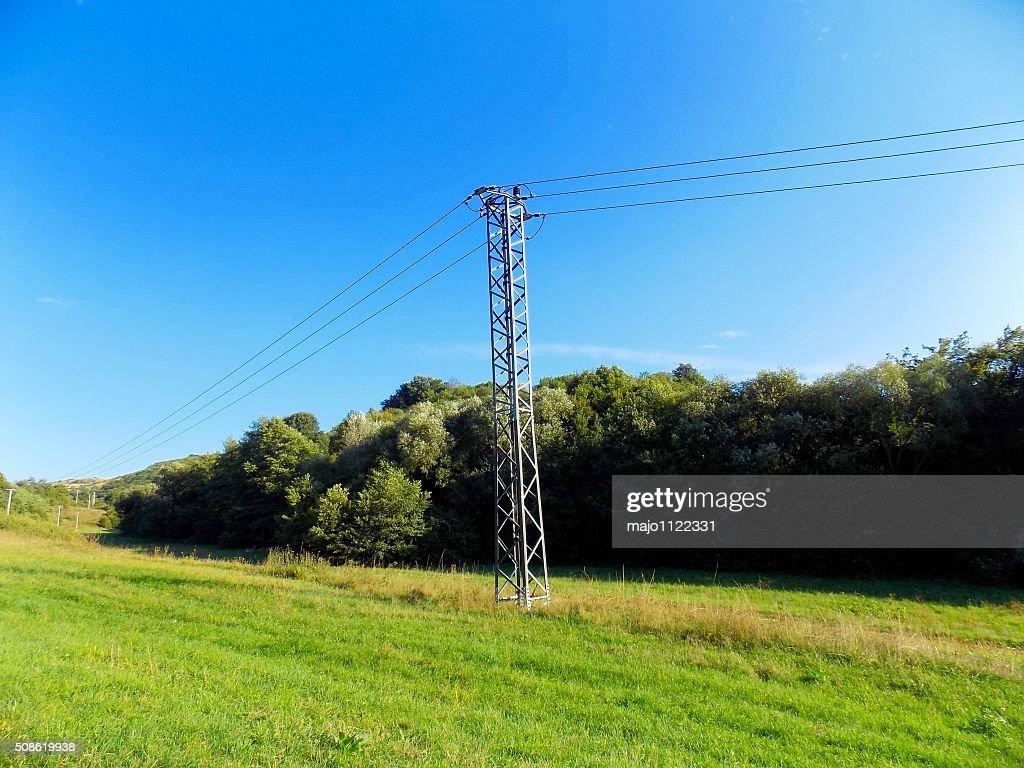 Power line column on meadow : Stock Photo