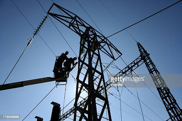 power line construction - electricity stock pictures, royalty-free photos & images