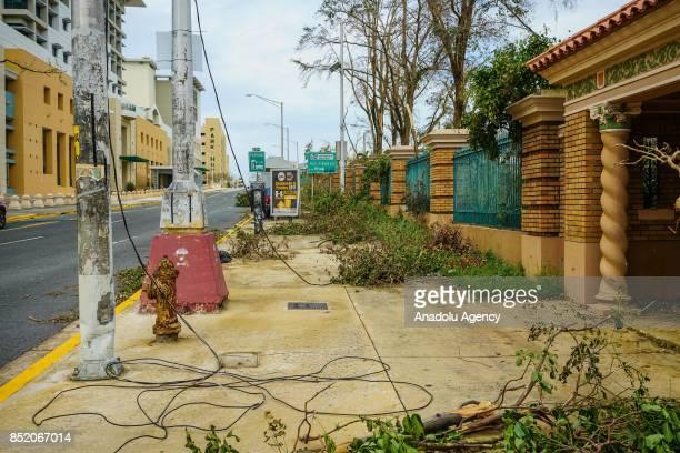Power lines and fallen trees block a sidewalk at the University of Puerto Rico Rio Piedras campus after Hurricane Maria at Ponce de Leon Avenue in...