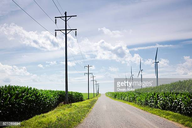 Power lines and horizontal axis wind turbines