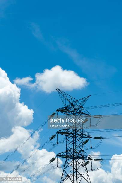 power lines and tower - generator stock pictures, royalty-free photos & images