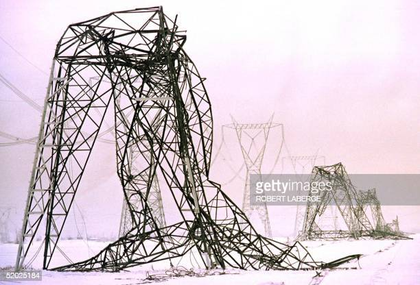 Power lines are crushed with the weight of four days of accumulated freezing rain in Boucherville 09 January near Montreal, Canada. Some three...