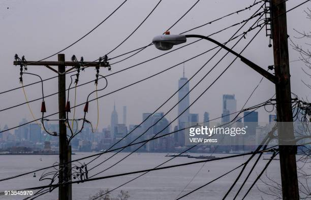 Power lines are seen as The New York City Skyline is in the background on February 01 2018 in Staten Island New York The White House is seeking deep...