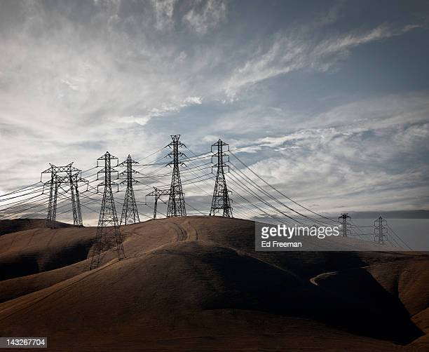 power lines in california hills - electricity stock pictures, royalty-free photos & images