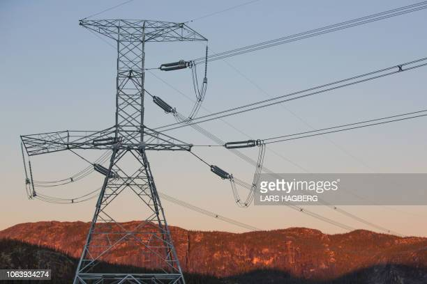 Power lines near Hydro-Quebec's Romaine 4 hydroelectric dam in the Côte-Nord Administrative Region of Quebec, Canada, on October 5, 2018. - On a...