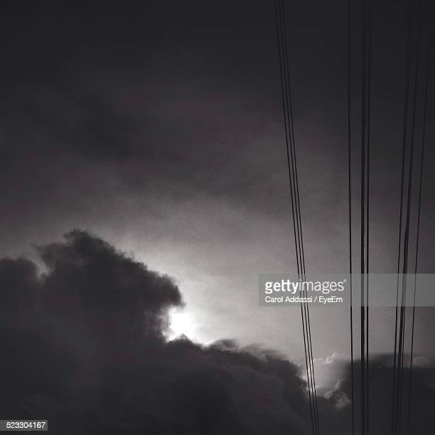 Power Lines On Overcast Sky
