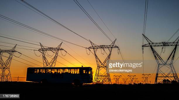 power lines - bus stock pictures, royalty-free photos & images