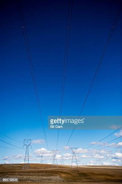 Power lines stretch across farm land near Douglas WA