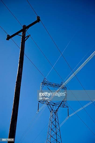 Power lines stretch across farm land near Douglas WA