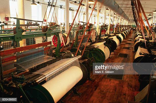 power looms at boott cotton mills museum - lowell massachusetts stock pictures, royalty-free photos & images