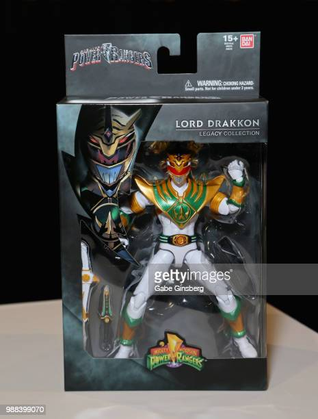 Power Morphicon exclusive Lord Drakkon figure from the 'Mighty Morphin Power Rangers' television franchise is seen on display during the sixth annual...