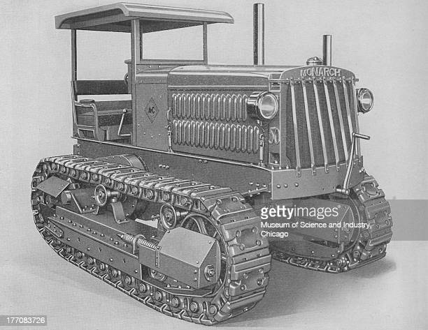 Power Of Medium Duty Operations black and white image of a front side view of a Monarch 50 Tractor stating that this medium size tractor is one of...