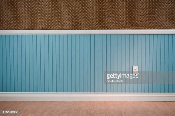 power outlet in empty room - wainscoting stock photos and pictures