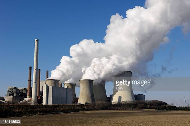power plant and blue sky - coal fired power station stock pictures, royalty-free photos & images
