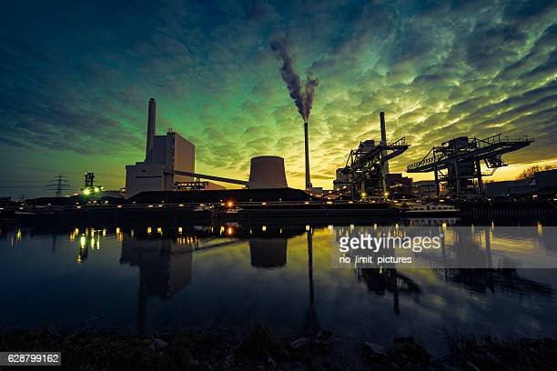 power plant at blue hour