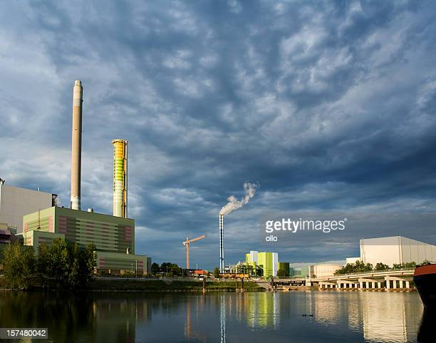 Power plant at the harbor, Mainz - dramatic sky