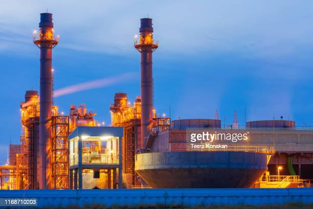 power plant in the petrochemical plant at blue sky - nuclear energy stock pictures, royalty-free photos & images