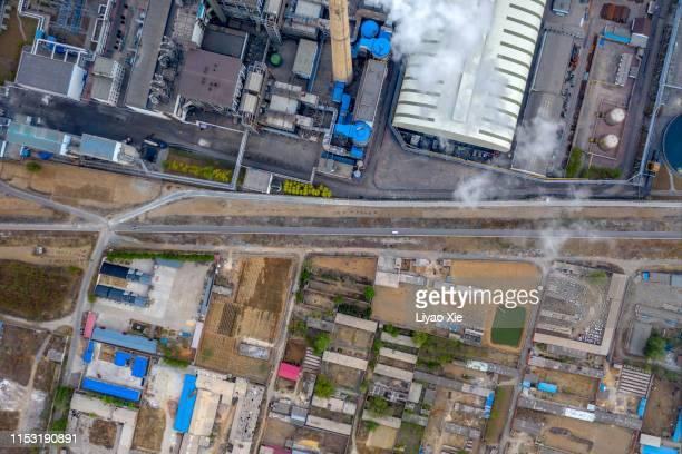 power plant in the village - liyao xie bildbanksfoton och bilder