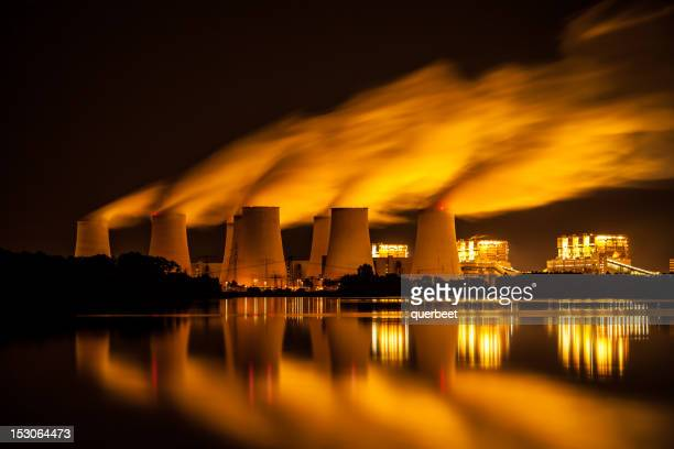 power plant - long exposure - fumes stock photos and pictures
