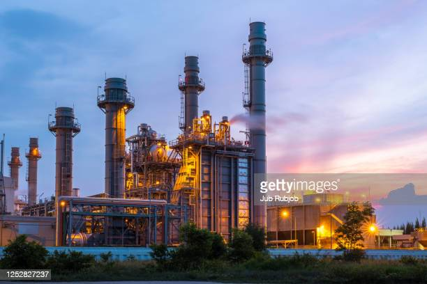 power plants at twilight, industrial and transportation - factory stock pictures, royalty-free photos & images