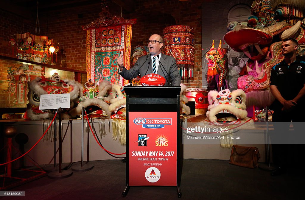 Power President David Koch speaks to the media during an AFL announcement at The Chinese Museum Melbourne on October 26, 2016 in Melbourne, Australia.