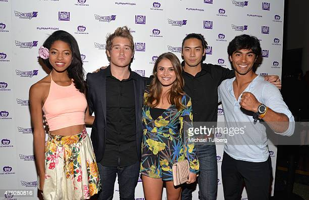 'Power Rangers' actors Camille Hyde Michael Taber Claire Blackwelder Yoshi Sudarso and Brennan Mejia attend the US Premiere of 'Dragon Ball Z...