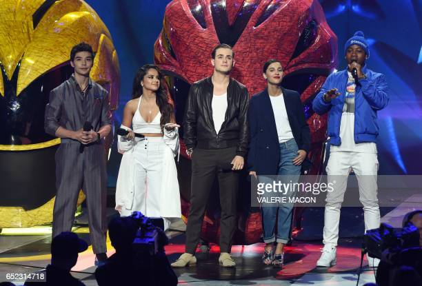 'Power Rangers' actors Ludi Lin Becky G Dacre Montgomery Naomi Scott and RJ Cyler on stage at the 30th Annual Nickelodeon Kids' Choice Awards March...