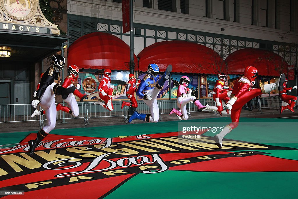 Power Rangers Megaforce perform at Day One of the 86th Anniversary Macy's Thanksgiving Day Parade Rehearsals at Macy's Herald Square on November 19, 2012 in New York City.