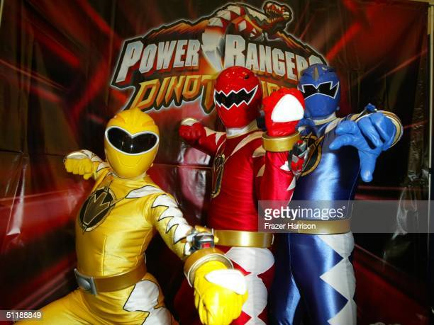Power Rangers pose at the Hollywood Radio and Television 10th annual Kids Day held at the Hollywood and Highland complex August 18 2004 in Hollywood...