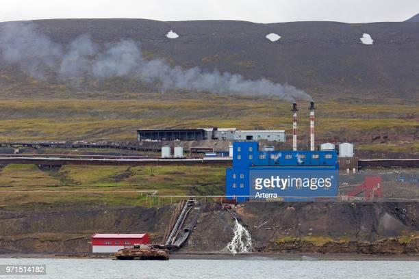 Power station at Barentsburg Russian coal mining settlement at Isfjorden Spitsbergen / Svalbard Norway