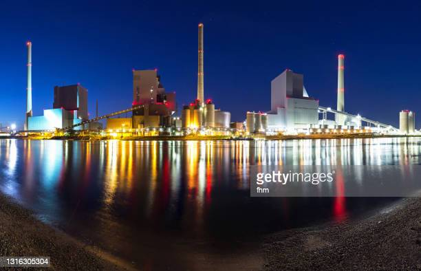 power station at blue hour - mannheim stock pictures, royalty-free photos & images