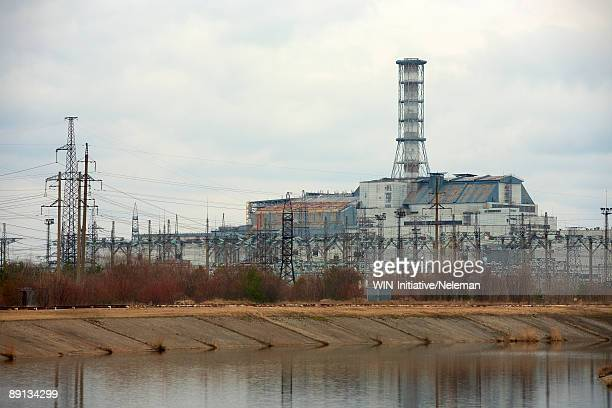 power station at the riverbank, chernobyl power plant, chernobyl, ukraine  - chernobyl stock pictures, royalty-free photos & images