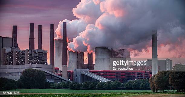 power station chimneys - carbon dioxide stock photos and pictures
